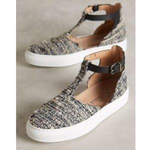 Anthropologie KMB T-strap Grey Tweed Sneakers